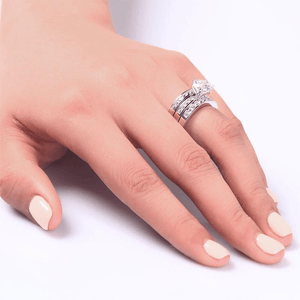 Silver Rings | Silver 2 Ct 3-Pcs Cut Simulated Diamond Ring Rings Delivery time 10 days