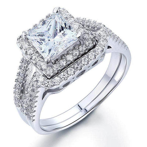 Silver Rings | Silver 1.5 Carat Princess Cut 2-Pc Promise Ring - mewe-jewelry.com