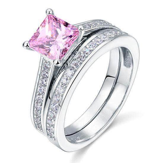 Sterling Silver Princess Fancy Pink Ring