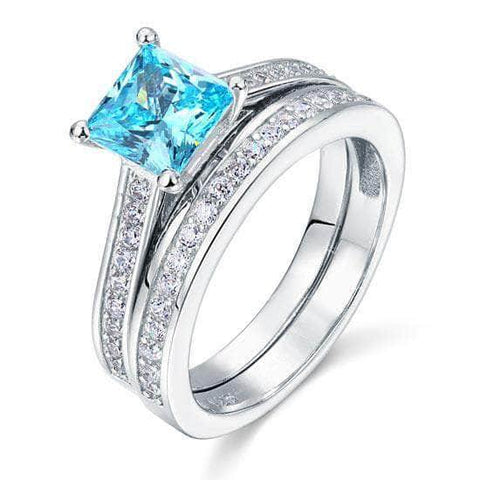 Silver Rings | Silver 1.5 Carat Princess Cut 2-Pc Blue Ring - mewe-jewelry.com