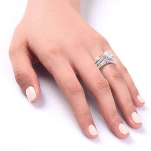 Silver Rings | Sterling Silver 2 Ct 3-Pcs Cut Ring