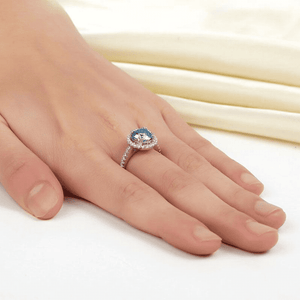 Silver Rings | 2 Ct Halo Blue Simulated Diamond Engagement Ring (10401276498)