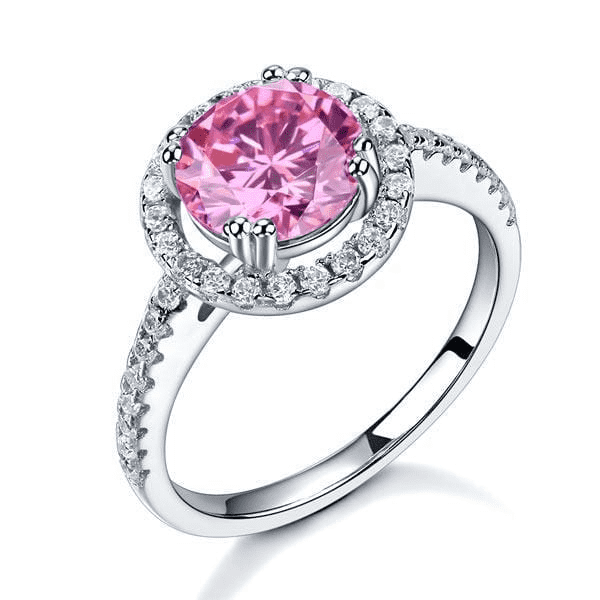 Silver Rings | 2 Ct Halo Pink Ring