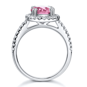 Silver Rings | 2 Ct Halo Pink Simulated Diamond Engagement Ring (10401313618)