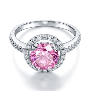 Silver Rings | 2 Ct Halo Pink Simulated Diamond Engagement Ring