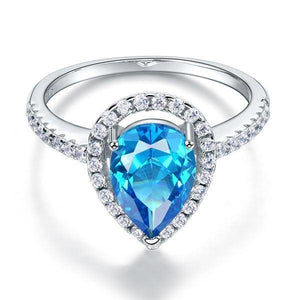Silver Rings | Sterling Silver Pear Blue Created Diamond Ring - mewe-jewelry.com (10524171282)
