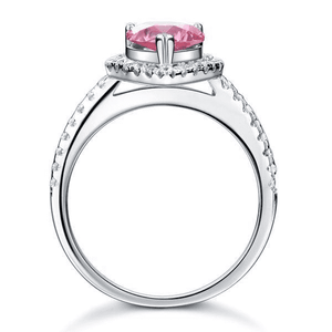 Silver Rings | Sterling Silver Pear Pink Created Diamond Ring (10524184530)