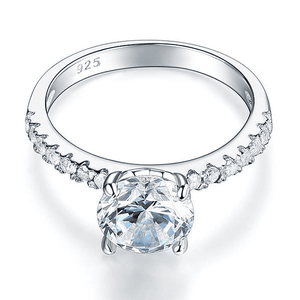 Silver Rings | Silver 2 Carat Created Diamond Clear Gem Ring