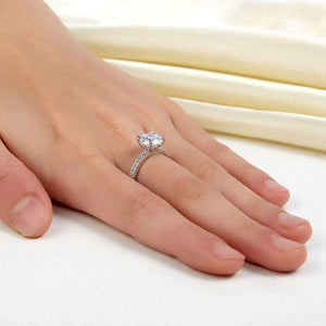 Silver Rings | Silver 2 Carat Created Diamond Clear Gem Ring (10349621586)