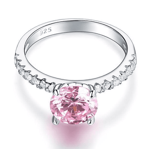 Silver Rings | Silver 2 Carat Fancy Pink Created Diamond Ring (10349670482)