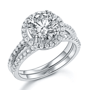 Silver Rings | 2 Ct Halo Clear Simulated Diamond Engagement Ring