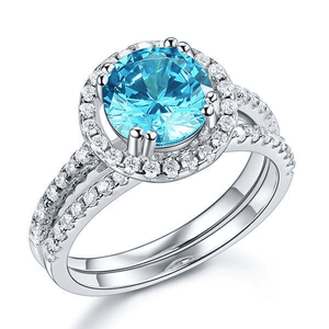 Silver Rings | 2 Ct Halo Blue Simulated Diamond Engagement Ring (10401428306)