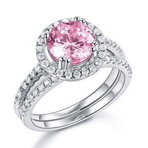Silver Rings | 2 Ct Double Halo Pink Simulated Diamond Engagement Ring (10401390290)