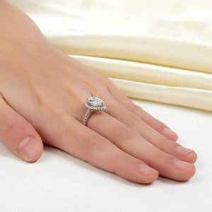 Silver Rings | Sterling Silver Pear Clear Created Diamond Ring