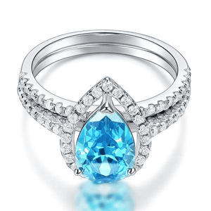 Silver Rings | Sterling Silver 2 Carat Pear Fancy Blue Created Diamond Ring (10459572370)