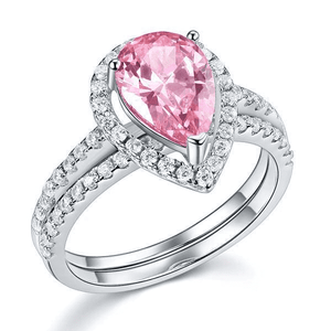 Silver Rings | Sterling Silver 2 Carat Pear Fancy Pink Created Diamond Ring (10459631378)