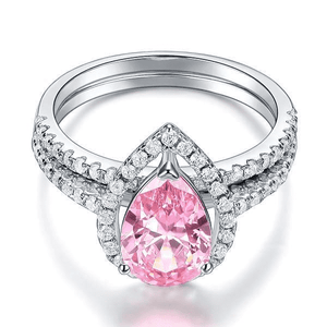 Silver Rings | Sterling Silver 2 Carat Pear Fancy Pink Created Diamond Ring