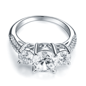Silver Rings | Sterling Silver 3-Stone 2 Carat Clear Vintage Ring (10348934738)