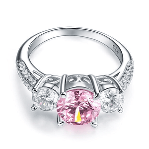 Silver Rings | Sterling Silver 3-Stone 2 Carat Fancy Pink Vintage Ring (10348960786)