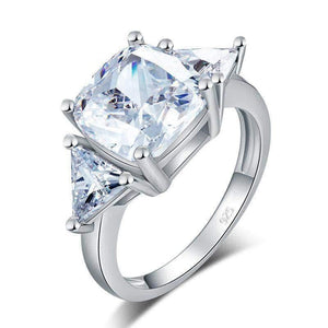 Silver Ring | Sterling Silver Cushion Cut 4 Carat Ring