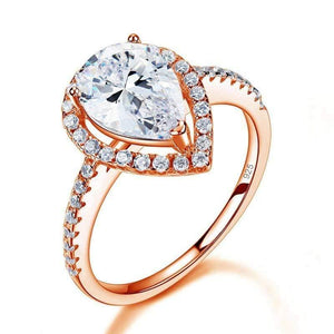 Sterling Silver 2 Ct Pear Cut Rose Gold