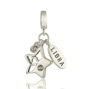 Charms | Sterling Silver Drop libra star sign charm
