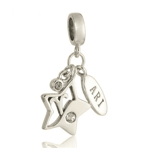 Charms | Sterling Silver Drop Aries star sign charm