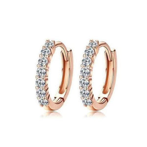 Rose Gold Multi Gem Hoop Earrings
