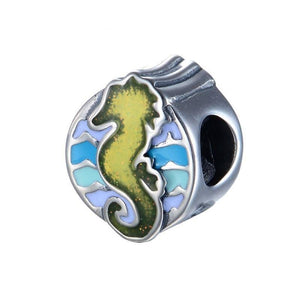 Silver Charms | Sterling Silver Blue Seahorse Charm