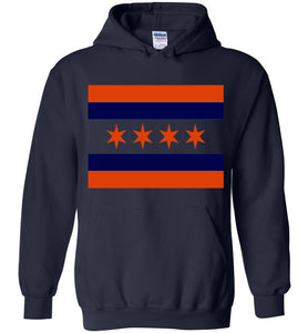 Chicago Flag Navy and Orange Hoodie