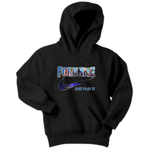 Fornite Just Play It Youth Hoodie Black or Navy