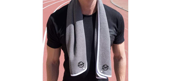 snappy fitness towel gray color