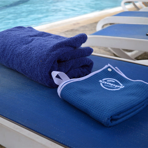 Stop lugging around huge, heavy, bulky cotton towels. Wear a Snappy Towel microfiber beach towel instead!