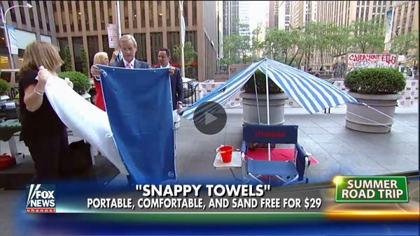 "Snappy Towels featured on Fox News' Fox & Friends morning show segment ""Packing hacks for long car trips"", June 9, 2016"