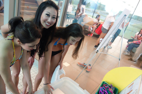 Swimmers from the Miss World Canada #saltwaterselfie challenge
