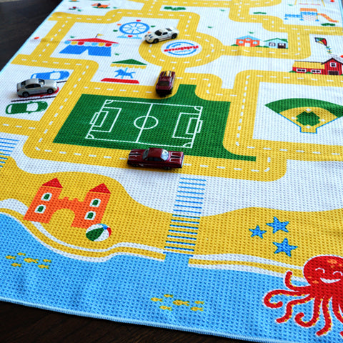 Play Mat Travel Beach Towel for Kids - beach town design. The towel is the toy!