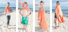 Wearable swim towels: perfect for the beach, hooded towel for kids, kids swim towels, microfiber swim towels for kids.