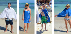 Textured microfiber beach towels, swim towels, travel towels, kids towels. Wearable swim towels: perfect for the beach, hooded towel for kids, kids swim towels, microfiber swim towels for kids.