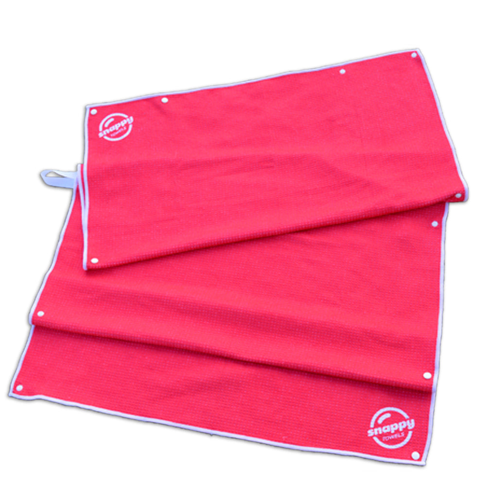 Kids Waffle Weave Swim Towel...with Snaps - Sunset Red/Pink