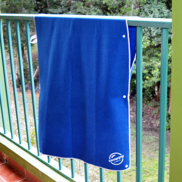 Snappy Towels can be attached to a railing, clothes line or rope while camping or sailing, and will dry quickly without risk of blowing away, no clothes pegs required!
