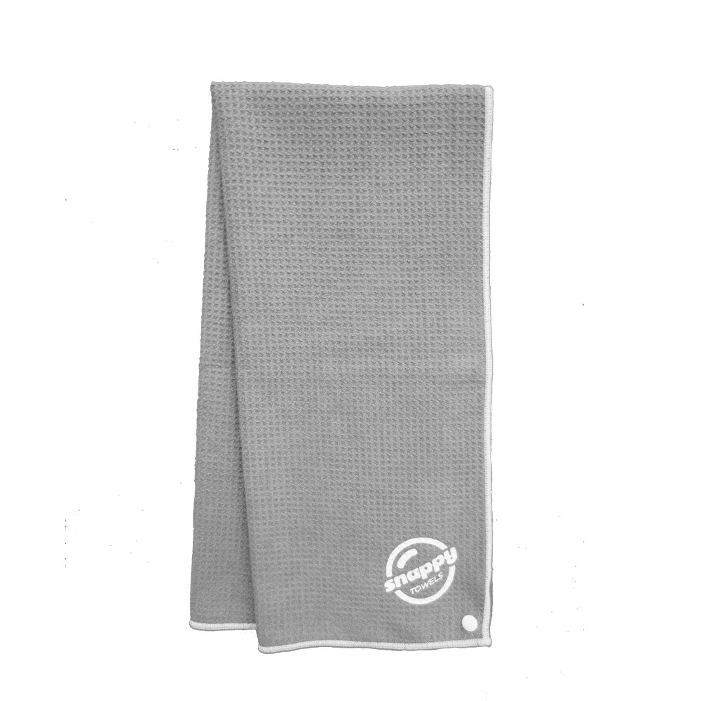 Gray microfiber fitness towel: waffle weave microfiber towel travel or camping towels.
