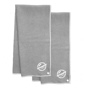Gray fitness gym microfiber towel:  waffle weave camping travel 2-pack