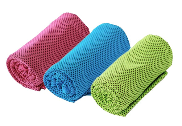 Snappy cooling towel 3-pack colors green pink blue