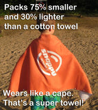 Large comfortable microfiber swim towel that kids can wear as a super hero cape towel!