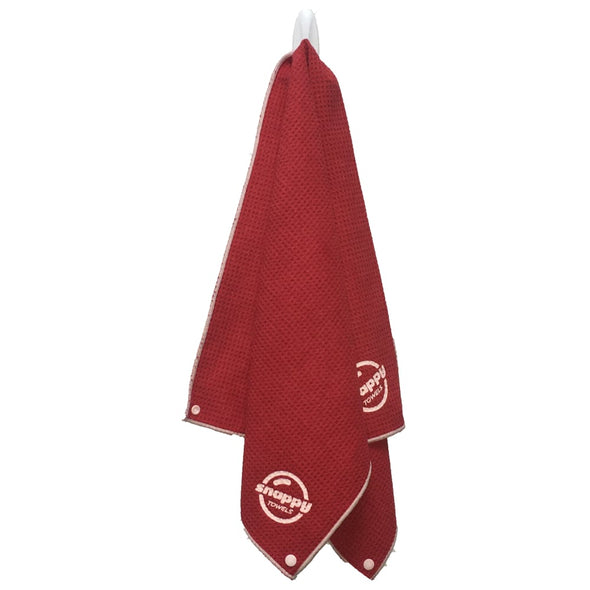 Snappy Fitness Towel Waffle Weave with Snaps - Ruby Red