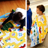 Play mat, travel towel, wearable towel all-in-one. Beach towel for kids.
