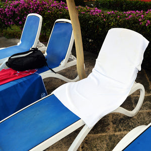 Portable and comfortable microfiber beach towel snaps to your lounge chair or beach chair. Won't fall down or blow away. Great for cruise ships too.