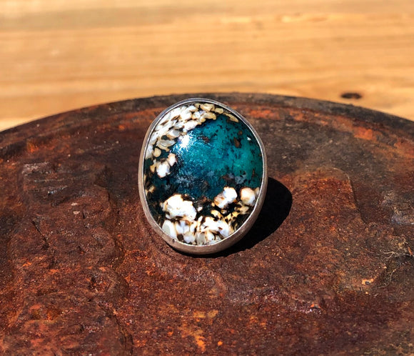 Ocean Turquoise on Tapered wide band Size 8.5