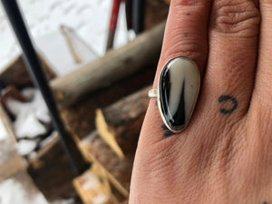 Black and White Ring Size 6