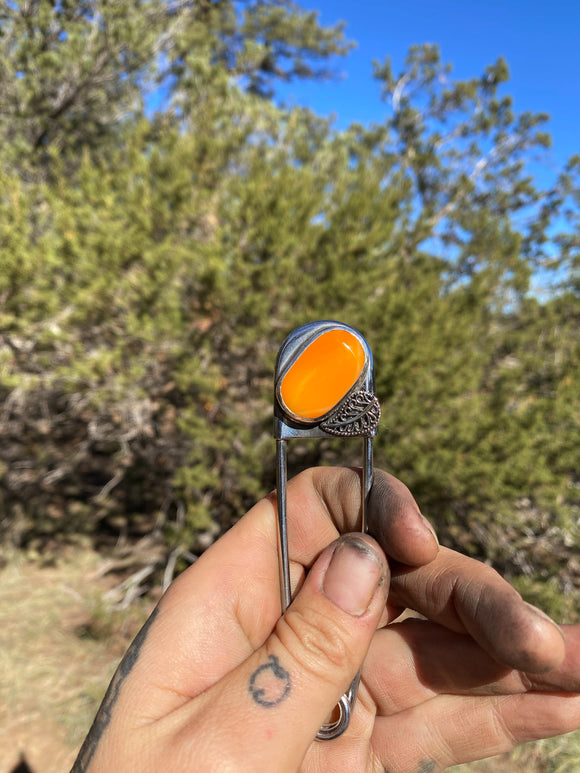 Orange Feather Safety Pin